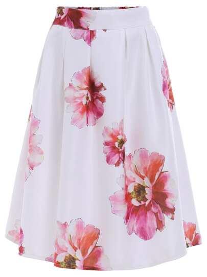 White High Waist Floral Midi Skirt