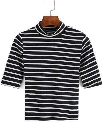 Black White Stand Collar Striped T-Shirt
