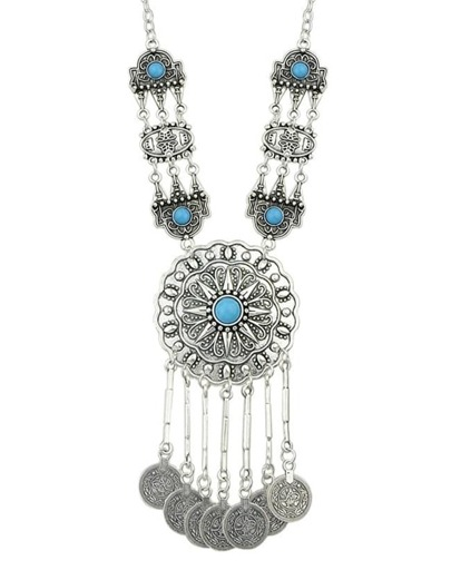 Blue Long Ethnic Necklace