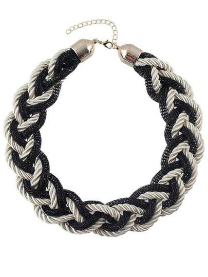 Black Braided Rope Chunky Necklace