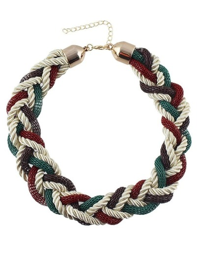 Green Braided Rope Chunky Necklace