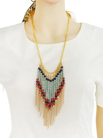 collier avec franges et perles