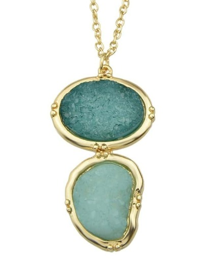 Green Long Stone Pendant Necklace