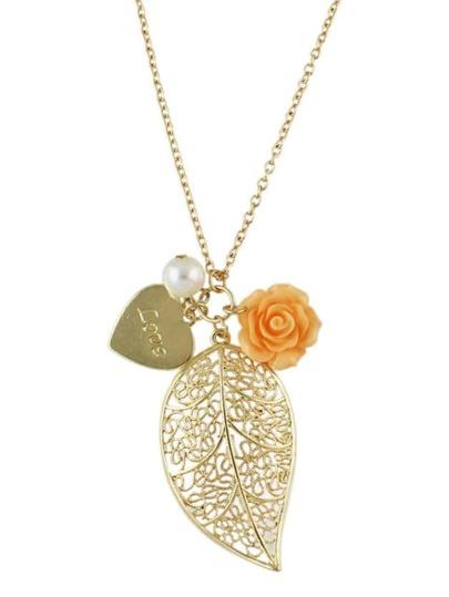 Leaf Shape Pendant Necklace