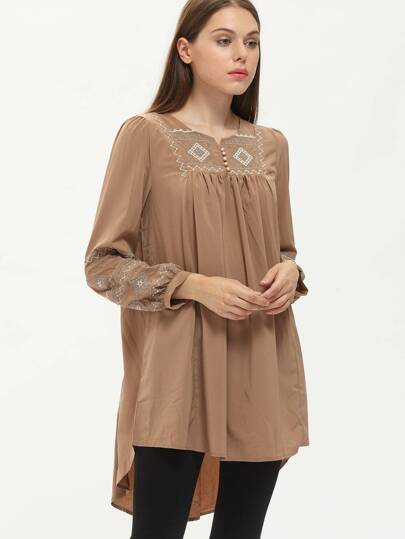Khaki Long Sleeve Scoop Neck Vintage Embroidery Dress