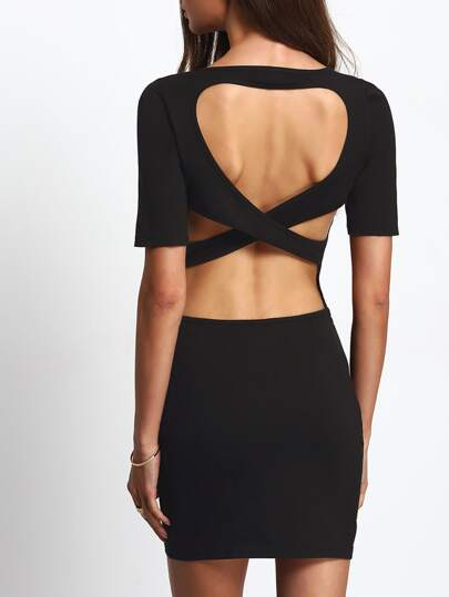 Black Round Neck Short Sleeve Crisscross Backless Bodycon Dress