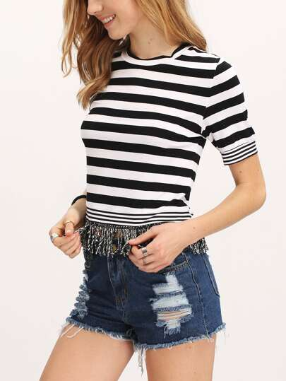 Black White Short Sleeve Round Neck Tassel Hem Crop top