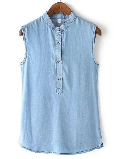 Blue Stand Collar Sleeveless Buttons Denim Blouse