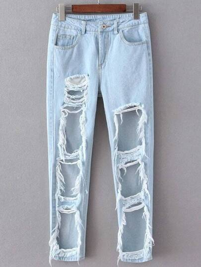 Light Blue Pockets Ripped Denim Pant