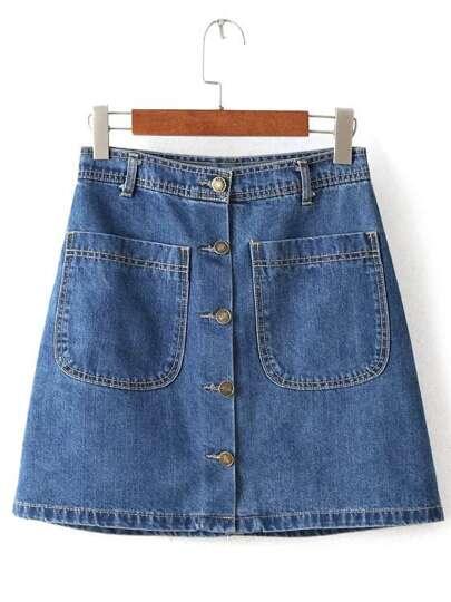 Blue Buttons Pockets A Line Denim Skirt