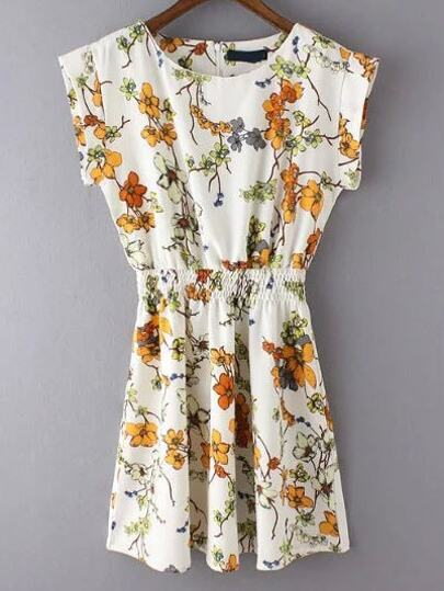 Multicolor Crew Neck Cap Sleeve Floral Dress