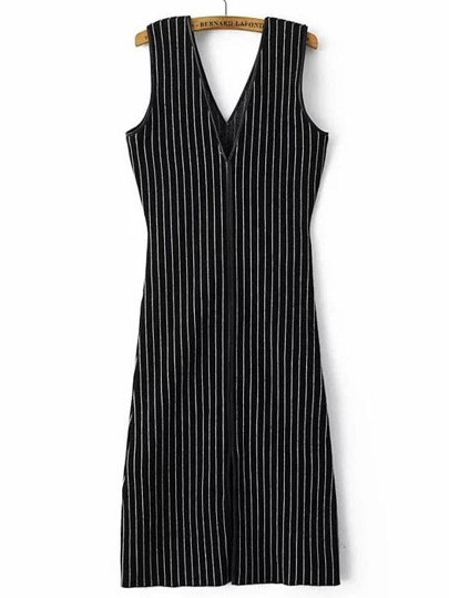 Black V Neck Vertical Stripe Split Dress