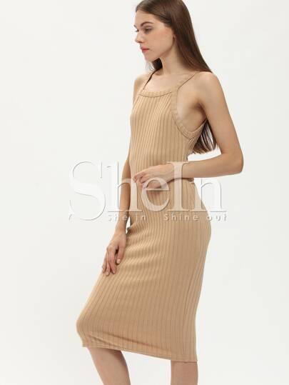 Apricot Rib Spaghetti Strap Sheath Dress