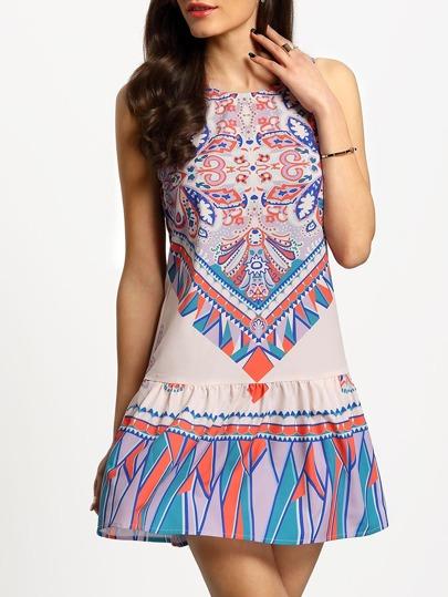 Multicolor Vintage Print Flounce Hem Shift Dress