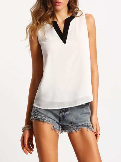 White Sleeveless Contrast V Neck Chiffon Blouse