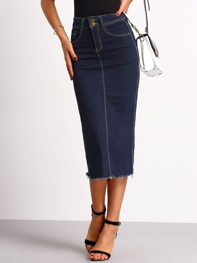 Navy Split Back Slim Denim Skirt