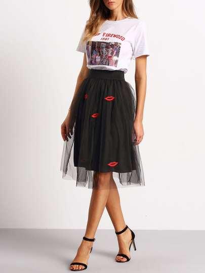 Black Lips Embroidered Sheer Mesh Skirt