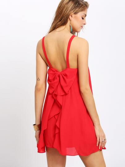 Red Bow Back Dip Hem Strap Shift Dress