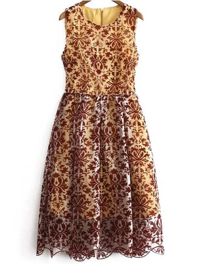 Yellow Sleeveless Floral Lace Dress