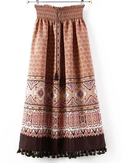 Khaki Drawstring Tassel Tribal Print Skirt