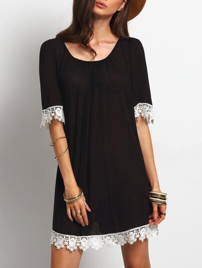 Black Round Neck Crochet Trim Shift Dress