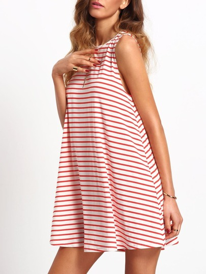 White Red Striped Crew Neck Casual Dress