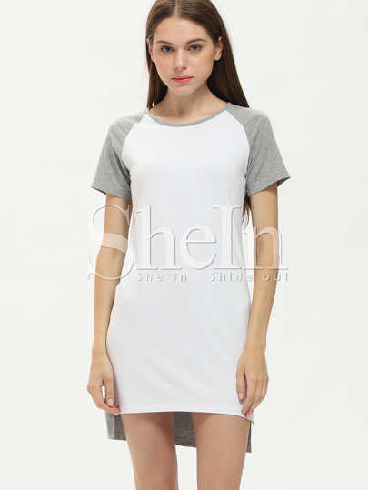 White Grey Contrast Raglan Sleeve T-shirt Dress