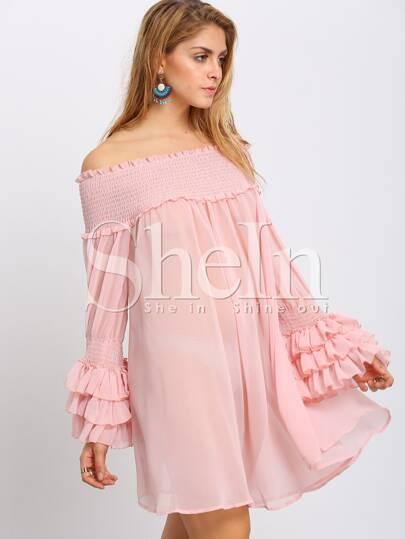 Pink Off Shoulder Smock Ruffles Shift Dress