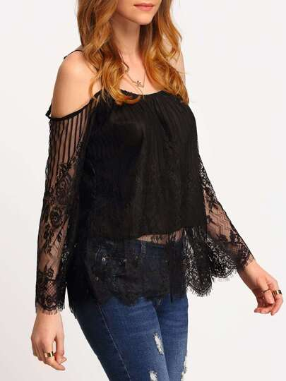 Black Cold Shoulder Sheer Lace Blouse