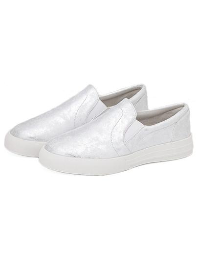 PU Flache Schuhe mit dichter Sohle-silber