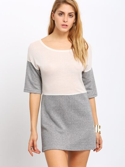 Apricot Grey Contrast Boat Neck T-shirt Dress