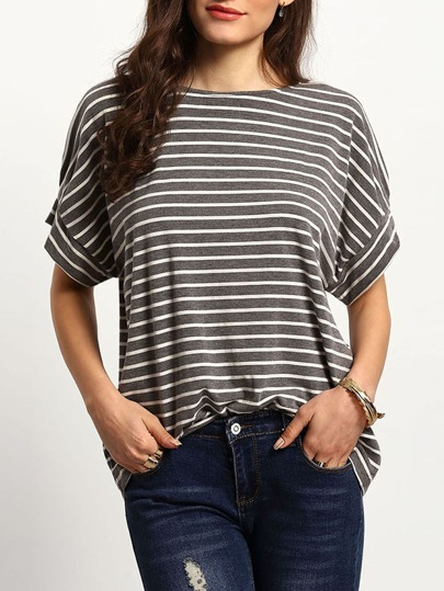 Grey White Stripe Casual T-shirt