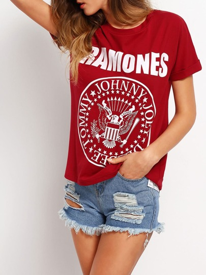 Burgundy Roll Cuff Letter Print Casual T-shirt