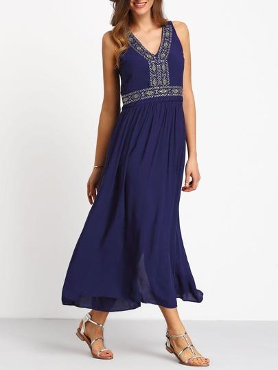 Blue V Neck Sleeveless Embroidered Dress