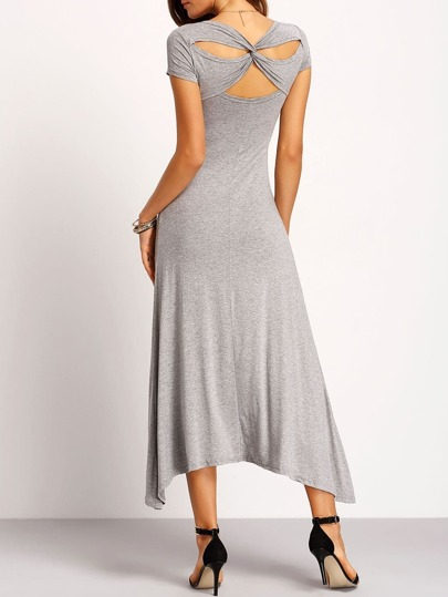 Dark Grey Short Sleeve Cross Back Dress