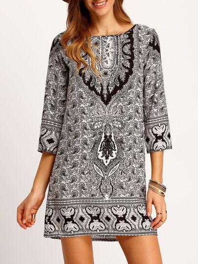 Black White Tribal Print Loose Dress