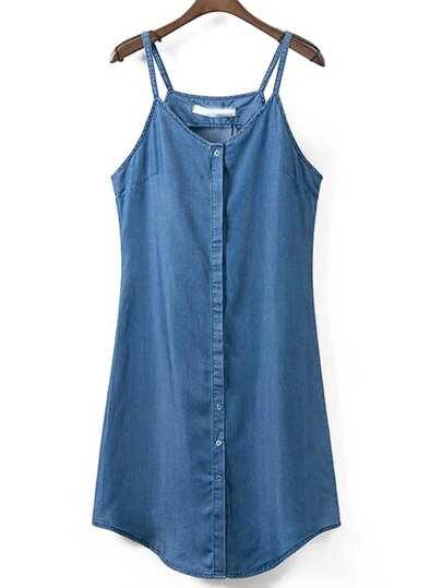 Blue Spaghetti Strap Buttons Denim Dress