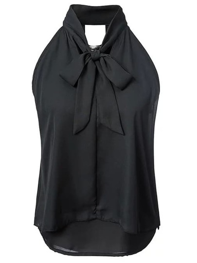 Black Knotted Double Layer Chiffon Blouse