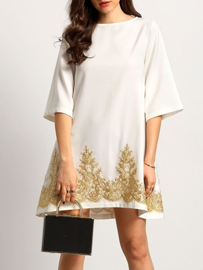 White Half Sleeve Lace Embroidered Shift Dress