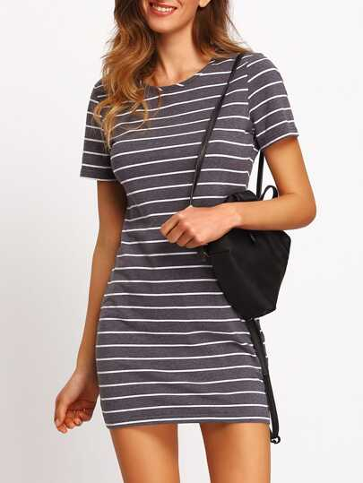 Grey White Stripe Casual T-shirt Dress