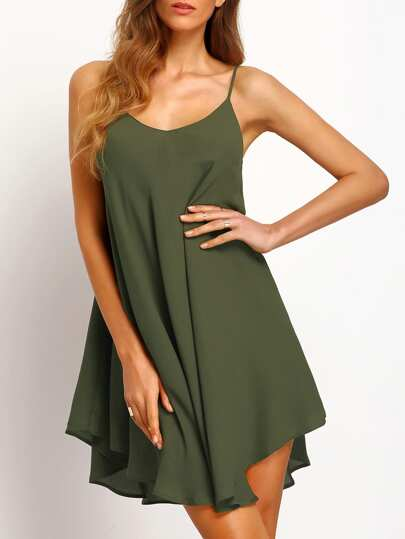 Asymmetrical Criss Cross Back Cami Sundress