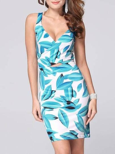 Blue White Spaghetti Strap Leaves Print Bodycon Dress