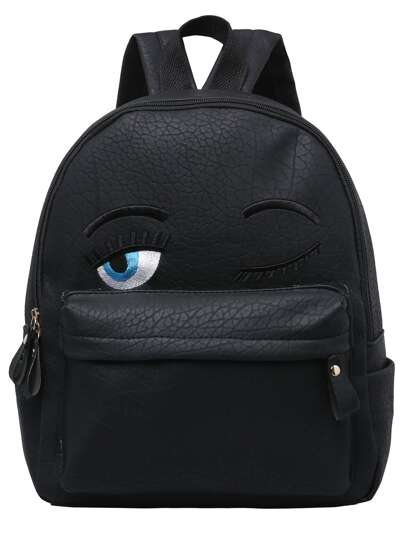 Black Eyes Pattern PU Backpack