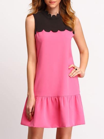 Rose Black Scallop Mock Neck Sleeveless Shift Dress