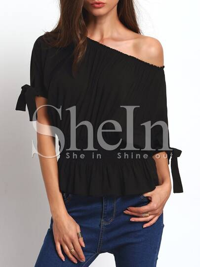 Black Open-shoulder Self-tie Cuff Elasticated Blouse