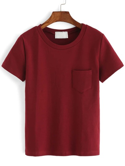 Crew Neck Pocket Burgundy T-shirt