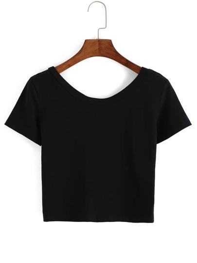 Scoop Neck Crop Black T-Shirt