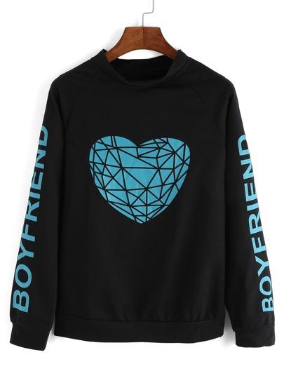 Raglan Sleeve Heart Print Black Sweatshirt