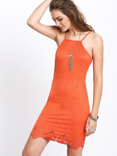 Orange Criss Cross Lace Up Backless Spaghetti Strap Dress