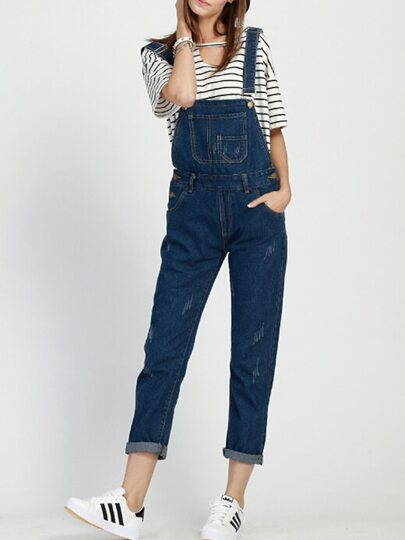 Navy Strap Pockets Denim Jumpsuit